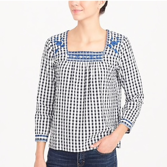93295744aa2 J. Crew Factory Tops | J Crew Factory Embroidered Gingham Peasant ...